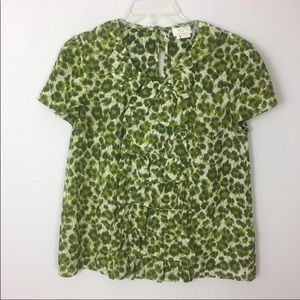 Kate Spade • Green Animal Print Silk Blouse